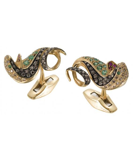 Gemelli cobra smeraldi+ brillanti oro bianco