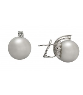 Orecchini perla coltivata mari del sud diametro mm. 14,50 +2 brillanti